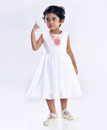Birthdaywala Dress Pleat Design Torso Dress - White