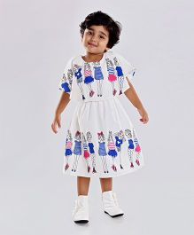 Birthdaywala Dress Girls Print Cape Design Dress - White