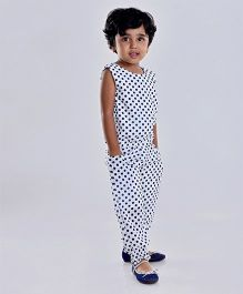 Birthdaywala Dress Polka Dot Printed Jumpsuit - White