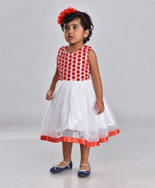 Birthdaywala Dress Rose Applique Flared Dress - Red & White