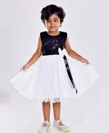 Birthdaywala Dress Sequined Dress With Bow On Waist - Black & White