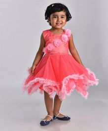 Birthdaywala Dress Asymmetric Frilled Hem With Rose Applique Dress - Pink