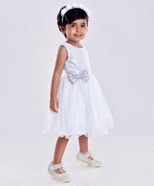 Birthdaywala Dress Glittery Dress With Bow - Silver