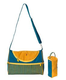 Vouch Kiaraa Mother Bag With Bottle Cover And Changing Mat - Yellow Blue