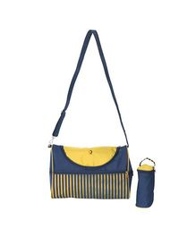Vouch Kiaraa Mother Bag With Bottle Cover And Changing Mat - Yellow & Dark Blue