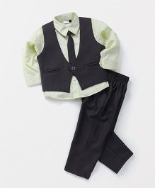 Babyhug 3 Piece Party Suit With Tie - Light Yellow