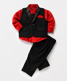 Babyhug 3 Piece Party Suit With Tie - Red & Black