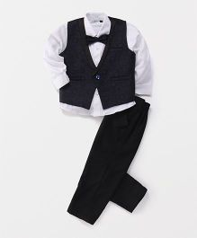 Babyhug 3 Piece Party Suit With Bow - Navy Blue