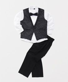 Babyhug 3 Piece Party Suit With Bow - Black