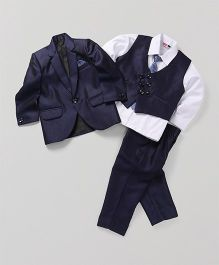 Babyhug 4 Piece Party Suit With Tie - Blue White