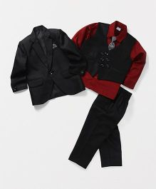 Babyhug 4 Piece Party Suit With Tie - Black Red