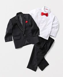 Babyhug Tuxedo 3 Piece Party Suit With Bow - Black & White