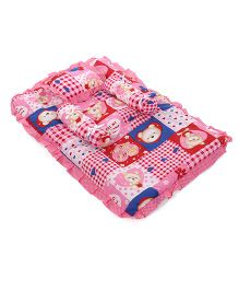 Little's Compact Bed With Pillow & Bolster Multi Print  - Pink