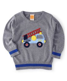 Little Kangaroos Full Sleeves Pullover Sweater Fire Brigade Vehicle Patch - Grey