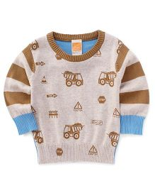 Little Kangaroos Full Sleeves Pullover Sweater - Fawn