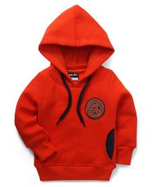 Little Kangaroos Full Sleeves Hooded Sweatshirt With Patch - Orange