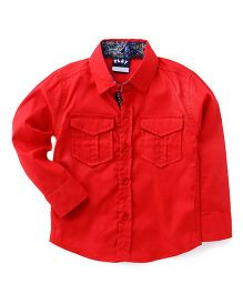 Little Kangaroos Full Sleeves Solid Shirt With Two Flap Pockets - Red