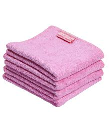Mumma's Touch Organic Bamboo Baby Wash Towel Set Of 4 - Pink
