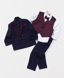 Babyhug 4 Piece Party Suit With Bow Tie - Navy Blue