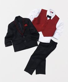 Babyhug 4 Piece Party Suit With Bow Tie - Black & Red