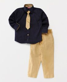 Babyhug Party Wear Dotted Shirt And Trouser With Tie - Navy Blue Golden