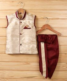 Babyhug Sleeveless Jacket & Dhoti Set - Light Beige & Red