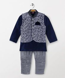 Babyhug Kurta Jodhpuri Breeches And Dhoti With Jacket - Blue Silver