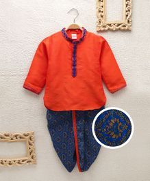 Babyhug Full Sleeves Kurta And Printed Dhoti Set - Orange Blue