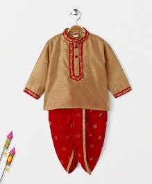 Babyhug Full Sleeves Kurta And Printed Dhoti Set - Golden & Red