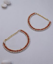 Kid1 Stone Ethnic Anklet - Red