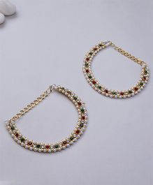 Kid1 Stone Ethnic Anklet - Multicolour