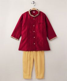 Babyhug Full Sleeves Kurta And Pajama - Red Yellow
