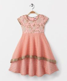 Babyhug Short Sleeves Ethnic Gown With Floral Embroidery - Pink