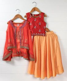Babyhug Sleeveless Choli And Lehenga With Jacket - Coral Light Orange