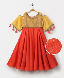 Babyhug Cold Shoulder Ethnic Gown Sequin Detailing - Golden Orange