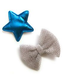 Knotty Ribbons Bow & Star Alligator Clip Set - Blue & Silver