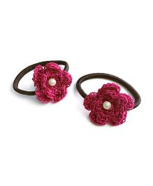 Knotty Ribbons Set of Two Crochet Flower Hair Tie - Dark Pink