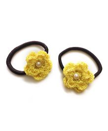 Knotty Ribbons Set of Two Crochet Flower Hair Tie - Yellow
