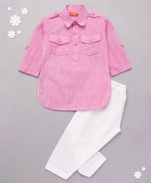 Exclusive From Jaipur Three Fourth Sleeves Kurta Pajama Set - Pink And White