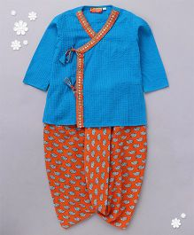 Exclusive from Jaipur Angarkha Style Kurta And Dhoti Set - Blue & Orange