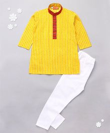 Exclusive From Jaipur Full Sleeves Printed Kurta & Pajama Set - Yellow & White
