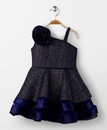 Babyhug Singlet Party Wear Frock With Floral Applique - Blue