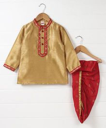Babyhug Full Sleeves Kurta And Dhoti Set - Beige Red