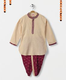 Babyhug Full Sleeves Kurta And Dhoti Set - Beige & Purple