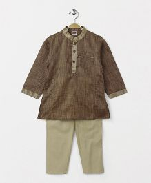 Babyhug Full Sleeves Kurta And Pajama Set - Brown Cream