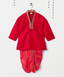 Babyhug Full Sleeves Kurta And Dhoti - Red Peach