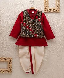 Babyhug Kurta Dhoti With Embroidered Jacket - Red Off White