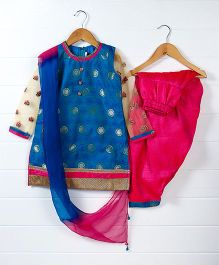 Babyhug Full Sleeves Kurti And Salwaar With Dupatta - Royal Blue Pink
