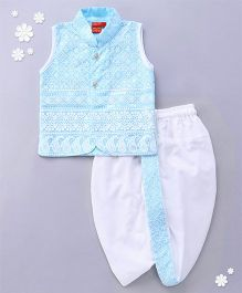 Ethnik's Neu Ron Sleeveless Kurta And Dhoti Set Chikan Embroidery - Blue White