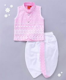 Ethnik's Neu Ron Sleeveless Kurta And Dhoti Set Chikan Embroidery - Pink White